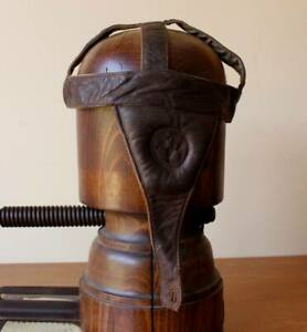 Antique Vintage Rugby Head Guard Scrum Cap. Padded Leather Headgear c1930