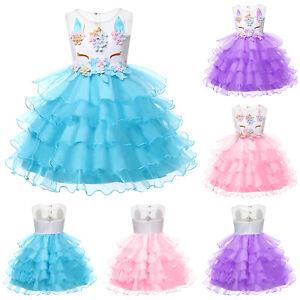 Kid's Girls Unicorn Costume Fairytale Dress Up Fancy Dress Princess Tutu Dress