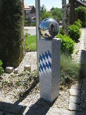 GARTENDEKO Steinsäule Edelstahlkugel Granitsäule Modern Geschenkidee Muttertag