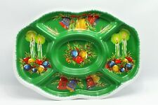 Vintage Green Christmas Bells Candles Ornament Divided Snack Tray Party Platter