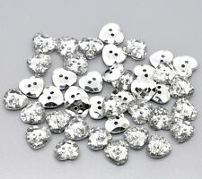 25 Silver Plated Crystal Heart Shape Acrylic Sewing Buttons Scrapbook 12mm Bling
