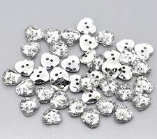 25 Chapado en Plata, Forma de Corazón de Cristal Acrílico Costura Botones Scrapbook 12mm Bling
