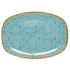 RICE Melamine plate in aqua flower print