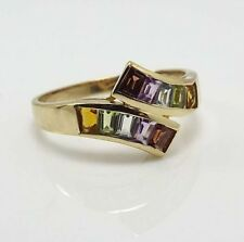 Lovely Ladies Estate Multicolored Bypass Style Ring, size 9, 14 kt yellow gold