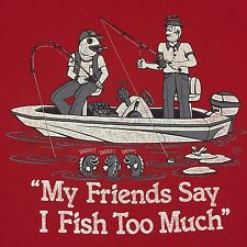 Vintage Fishing Large T-shirt Boat Humor Lake Pond Trolling Bait Casting Dock