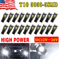 20PCS White Canbus Error Free T10 LED 5smd Interior Wedge Light Bulb W5W 194 168