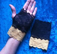 Black gold lacy mittens stretch Whitby goth gloves cuffs steampunk Halloween