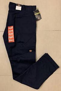 Dickies Mens Flex Skinny-Straight Fit Double Knee Work Pant 30W Dark Navy *NEW*