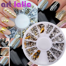 Lots 240Pcs Gold Silver 3D Metal Nail Art Tips Fashion Metallic Studs Stickers