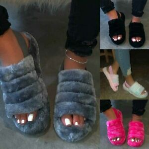 Womens Fluffy Peep Toe Sandals Ladies Platform Slingback Shoes Slippers Size UK