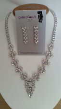 SPECIAL OCCASION & BRIDAL  CUBIC ZIRCONIA V-SHAPE NECKLACE & EARRING SET