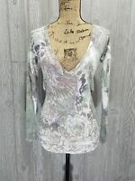 Romeo And Juliet Couture V-Neck Long Sleeve Floral Print Size S Small