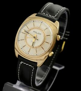 "POLJOT SIGNAL VIBRO ""BZZZZZZ"" ALARM vintage  Soviet gold plated mechanical watch"