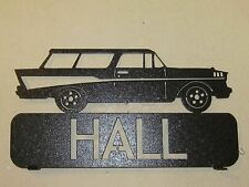 CUSTOM  1957 CHEVY NOMAD MAILBOX TOPPER SIGN (YOUR NAME) BLACK POWDER COAT