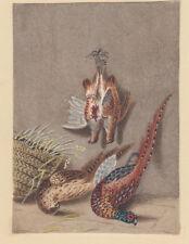 Cacciagione, fagiani, acquarello, XIX secolo