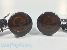 2x Motorcycle Bullet Turn Signals Amber Blinker Skull Light Indicator Harley