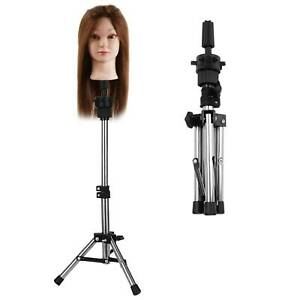 Adjustable Hairdressing Training Mannequin Head Tripod Stand Wig Holder Barber