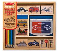 *NEW* Melissa & Doug Wooden Vehicle Stamps Stamper Set