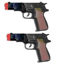 2 Police Style Semi Auto 45 Cap Pistols Black Plastic w/ FREE WESTERN PISTOL TOY