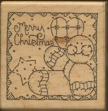 MERRY CHRISTMAS Patchwork Doll Square JRL Design Wood Mount CRAFT RUBBER STAMP