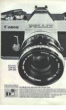PUBLICITE ADVERTISING  1965  CANON appareil photo PELLIX 24/36