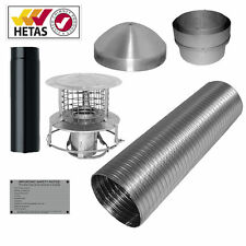 6'' 7M FLEXIBLE FLUE LINER STARTER/INSTALL KIT/PACK WOODBURNER MULTIFUEL STOVE