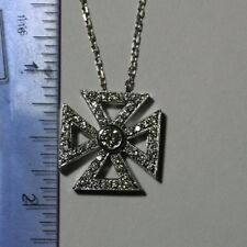 0.72 ct G VS2 diamond maltese celtic cross pendant 14k white gold cable chain