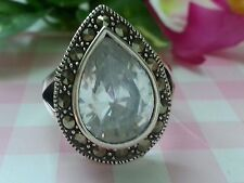 Beautiful Real Sterling Silver 925 Ring Big CZ Marcasites Size 7 NEW A82