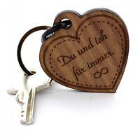 Gravur Schlüsselanhänger aus Holz - Modell: Herz mit Gravur / Wunschgravur