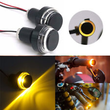 Pair Motorcycle Handlebar LED Turn Signal Corner Light Warning Lamp Amber 12V