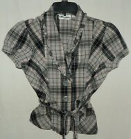 Millenium Gray Black Red Striped Plaid Short Sleeve Shirt with Waist Tie Sz M