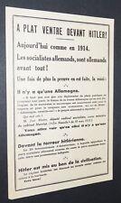 TRACT 1933-1934 ANTI-SOCIALISTE INTERNATIONALE A PLAT VENTRE DEVANT HITLER !