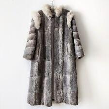 Niki Gray Rabbit Fur Long Full length Coat Jacket Size M
