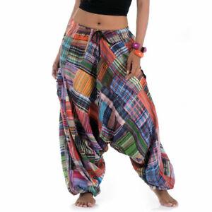 Thai Hippie Harem Aladdin Genie Boho Hip Hop Baggy Goa Gypsy Pants Trousers SML