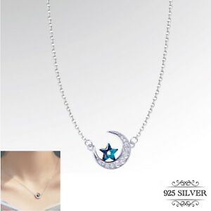 925 Sterling Silver Moon Star Pendant Necklace Crystal Blue Womens Jewellery UK