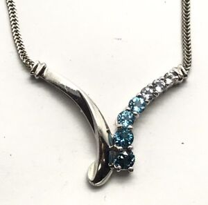 Sterling Silver 925 Elegant Blue London Swiss Topaz Aquamarine V Collar Necklace