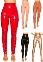 Hose mit Zips in Lackoptik Gr. S-XL, Wetlook Leggings Reißverschluß