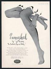 1943 Gotham fishnet stockings woman's legs art vintage print ad