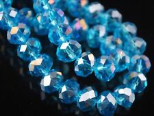 98pcs 4x6mm Faceted Rondelle Crystal Glass Loose Spacer Beads Sky Blue AB