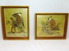 1950s ORIENTAL ART Shadow Box 3D COPPER Enamel SCULPTURES Chinese JUNK RICKSHAW