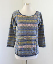 Lucky Brand Blue Yellow Striped Printed Fringe Knit Sweater Top Size XS Boho
