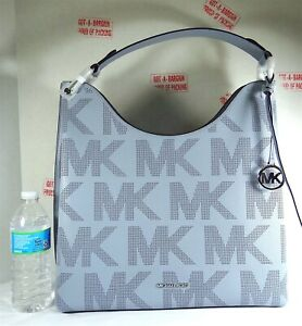 Michael Kors Joan XL Pale Blue Perforated Leather Shouchy Shoulder Bag