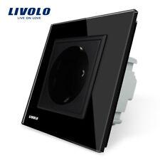 Enchufe EU Panel Cristal Power Socket Black Crystal Glass AC 110~250V 16A LIVOLO