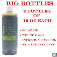 2 Pack of 16 Oz Each - Betadine 10% Povidone Iodine Bottles Antiseptic- Flip-Top