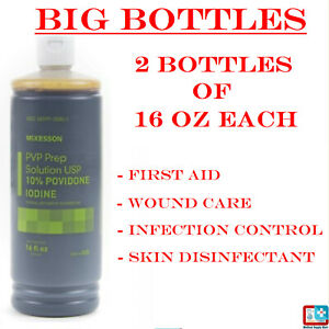 2 Pack of 16 Oz Each - Betadine 10% Povidone Iodine PVP Prep Solution Antiseptic