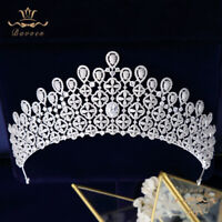 Oversize Baroque Bridal Tiaras Crowns Zircon Headbands Wedding Hair Accessories