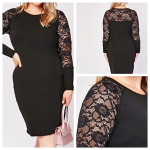 Ladies Black Dress Size 20 PINK CLOVE Long Lace Sleeves Stretchy NEW NWOT 🌹