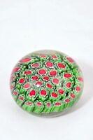 M Design Art Red & Green Flower Millefiore Paperweight PW-6125