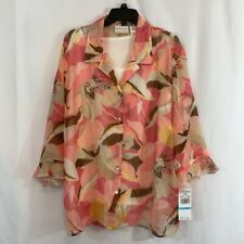 Alfred Dunner Womens Layered Button Up Shirt Pink Brown Floral Top Plus 20W New