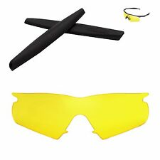 Walleva Yellow Replacement and Black Rubber Kit for Oakley M Frame Hybrid